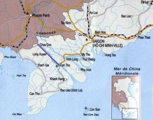 Mapa delta mekong barco